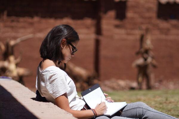 PRC garden woman reading